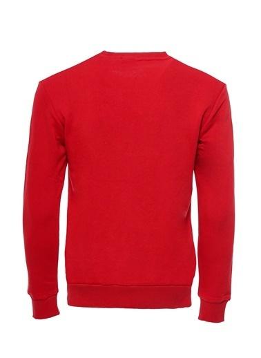 Wessi Wessı Erkek Bisiklet Yaka Baskılı Sweatshirt Kırmızı